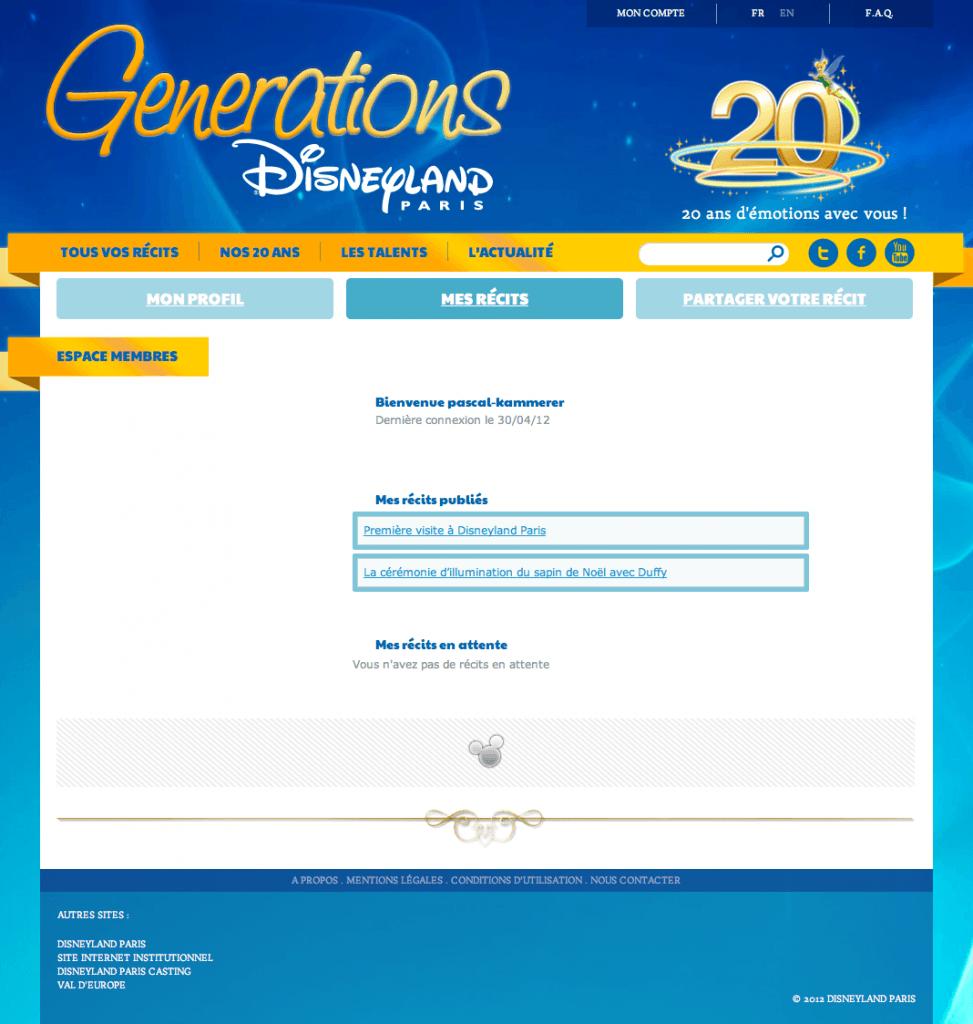 Disneyland Paris Generations - Espace Membre - Mes récits