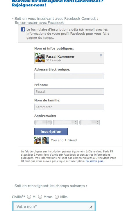 Disneyland Paris Generations - Facebook Connect