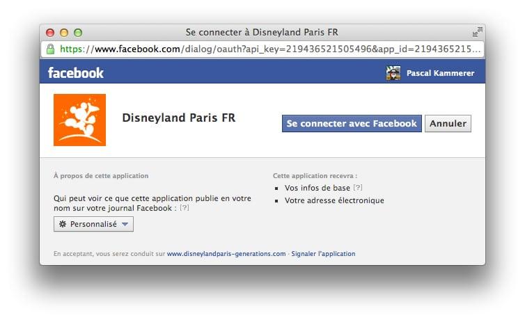Disneyland Paris Generations - Facebook Connect popup