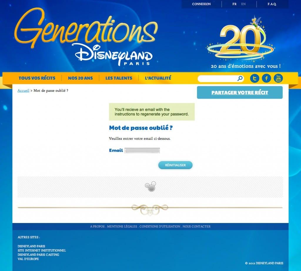 Disneyland Paris Generations - Mot de passe oublié