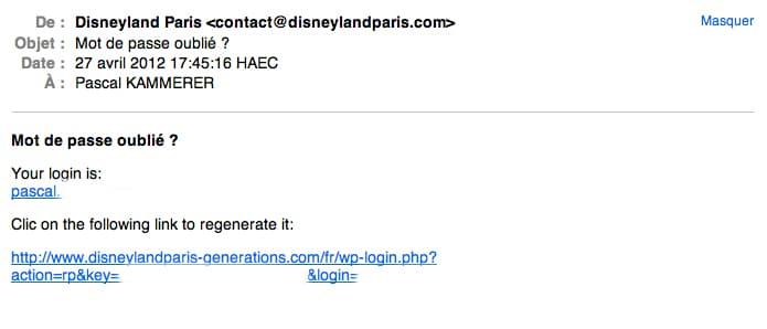 Disneyland Paris Generations - Mot de passe oublié email