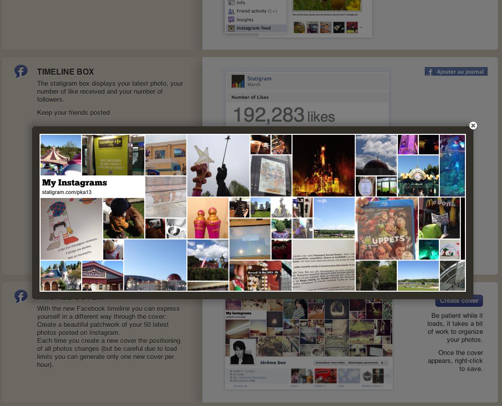 Créer sa couverture de page ou de profil Facebook format timeline avec sa galerie Instagram