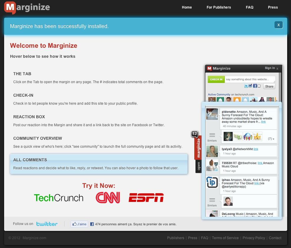 Marginize - Une page active
