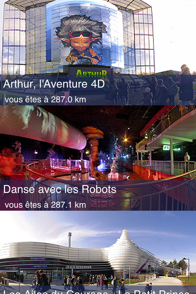 Application iPhone Futuroscope 360 - Les attractions en mode liste