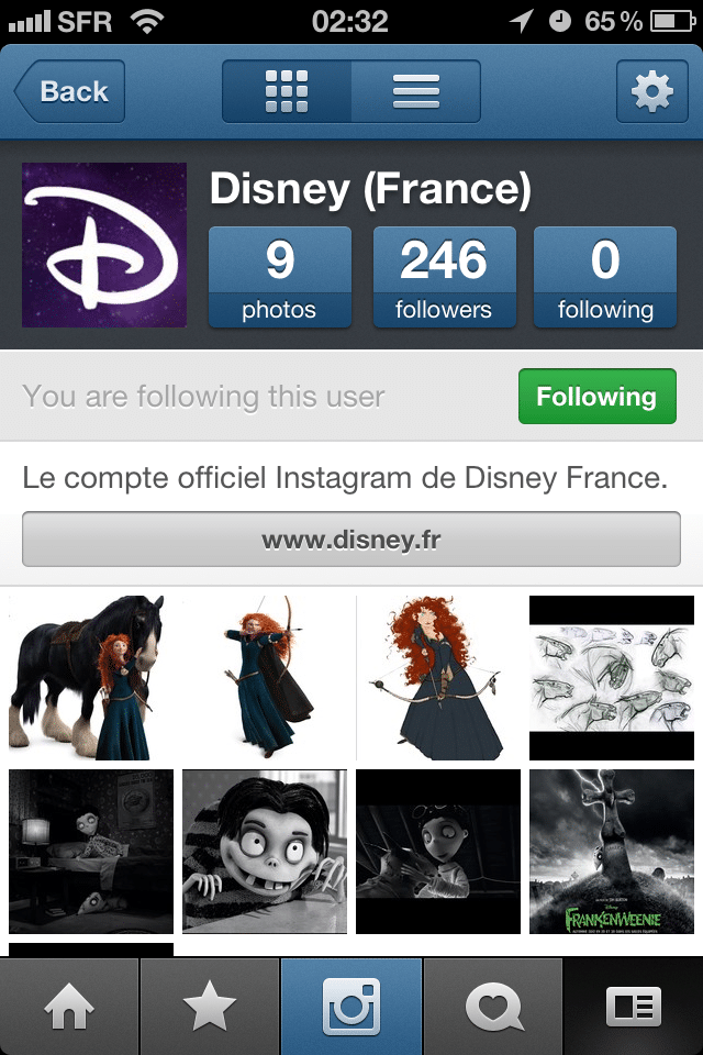 Compte Instagram Disney France