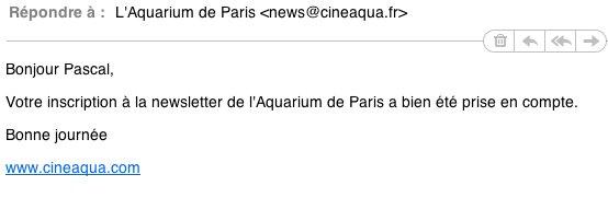Aquarium de Paris - Nouveau site Web - Newsletter
