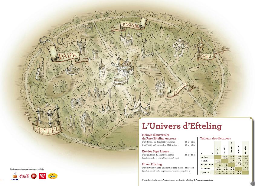 Plan du parc Efteling tel que présenté sur la brochure