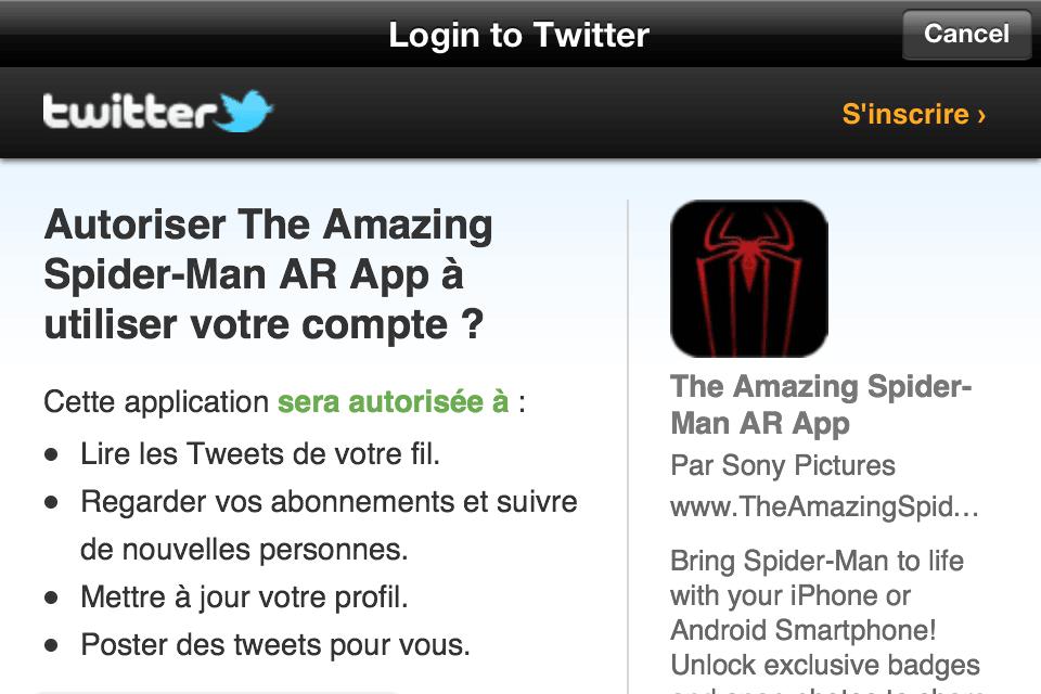 The Amazing Spiderman - AR - App 10 - Vous devez autoriser l'application