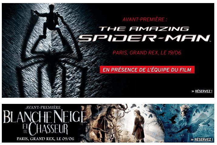 Invitations FNAC Avants Premières Grand Rex Paris Amazing Spiderman Blanche Neige et le Chasseur