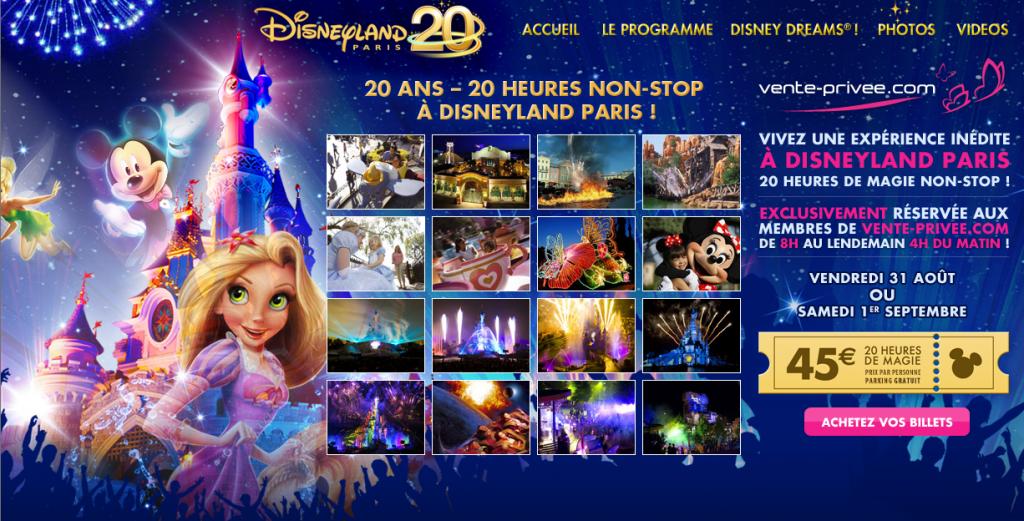 Vente Privée Disneyland Paris 20 ans 20 heures - 2