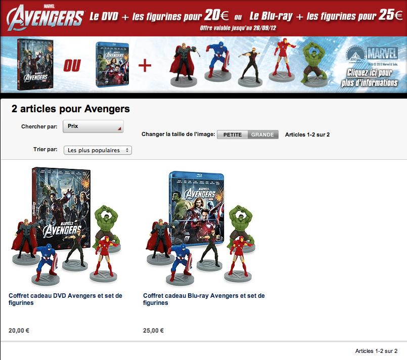 Pack Avengers et Figurines sur Disney Store