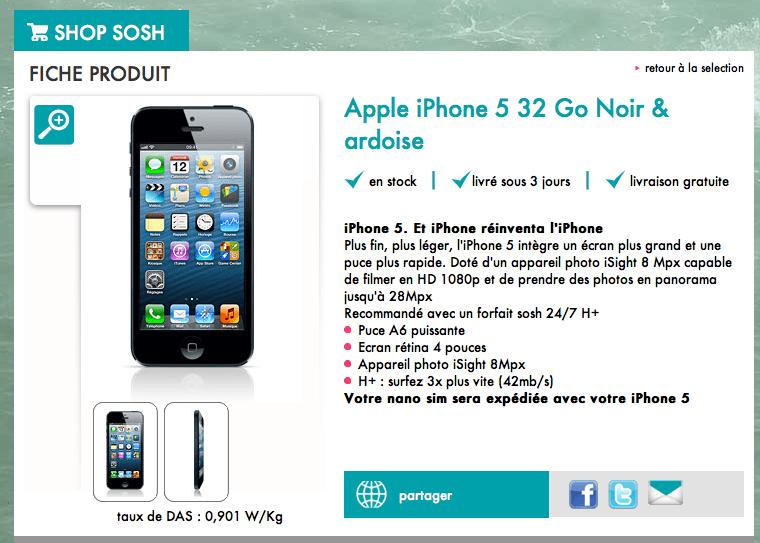 L'iPhone 5 chez Sosh
