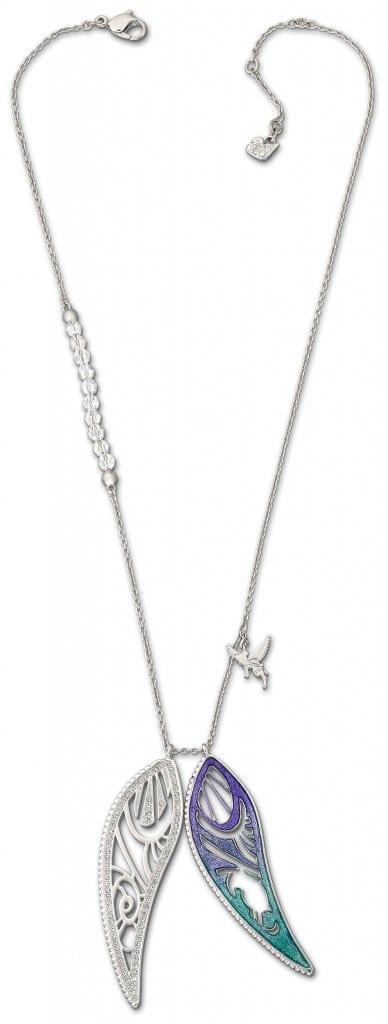 Clochette - Pendentif en métal rhodié et perles de cristal