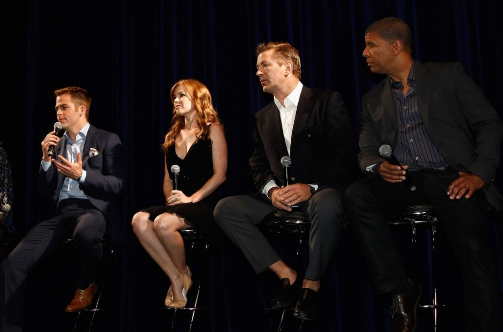 Chris Pine, Isla Fisher, Alec Baldwin and Director Peter Ramsey at a press conference