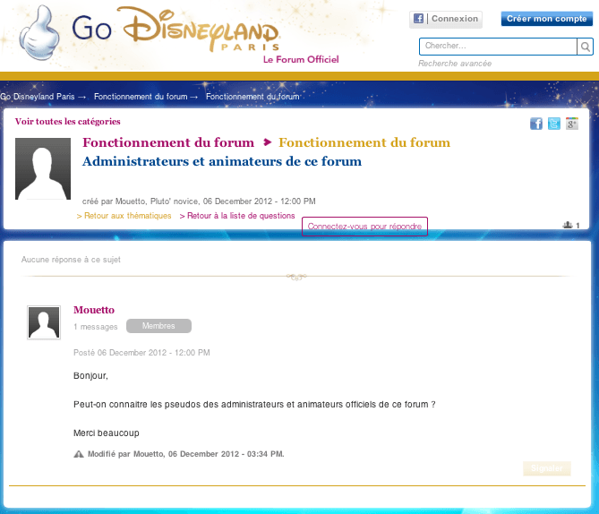 Go Disneyland - Fonctionnement du forum - Question modérateurs