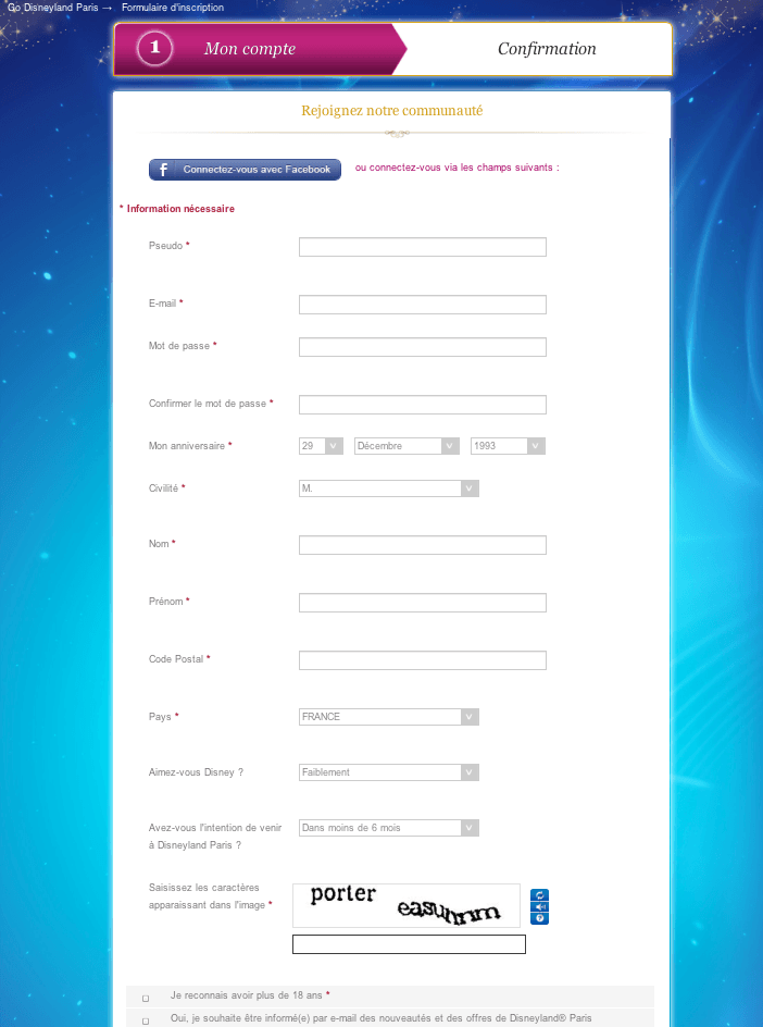 Go Disneyland - Inscription complète