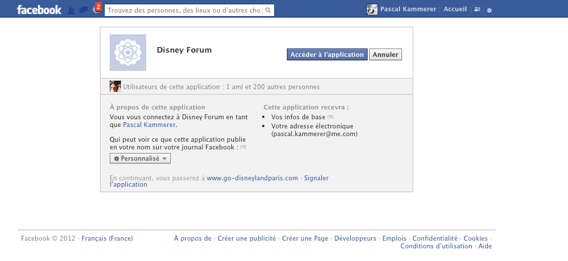 Go Disneyland - Inscription Facebook - Autorisation