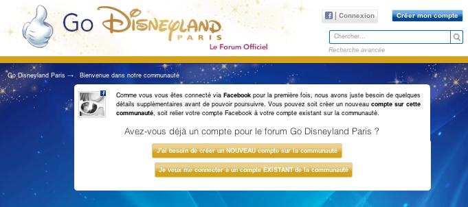Go Disneyland - Inscription Facebook - Créer ou utiliser un compte