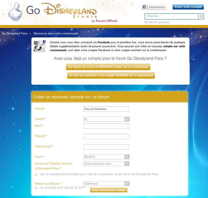 Go Disneyland - Inscription Facebook - Créer un compte