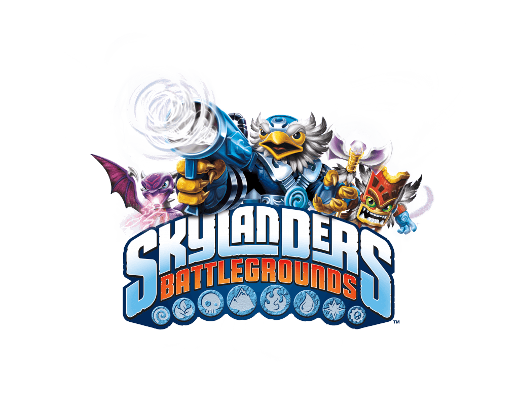 Skylanders Battlegrounds logo with characters
