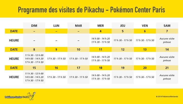 Planning indicatif des passages de Pikachu (il peut y avoir des changements)
