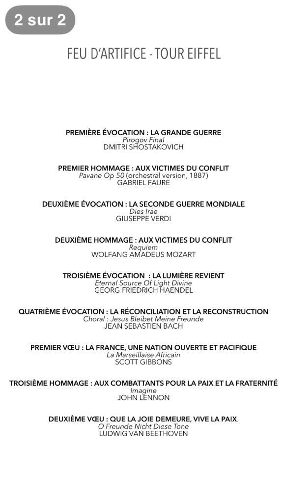 Tracklist Tour Eiffel Feu dartifice