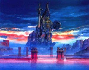 La statue d'Odin dans Saint Seiya