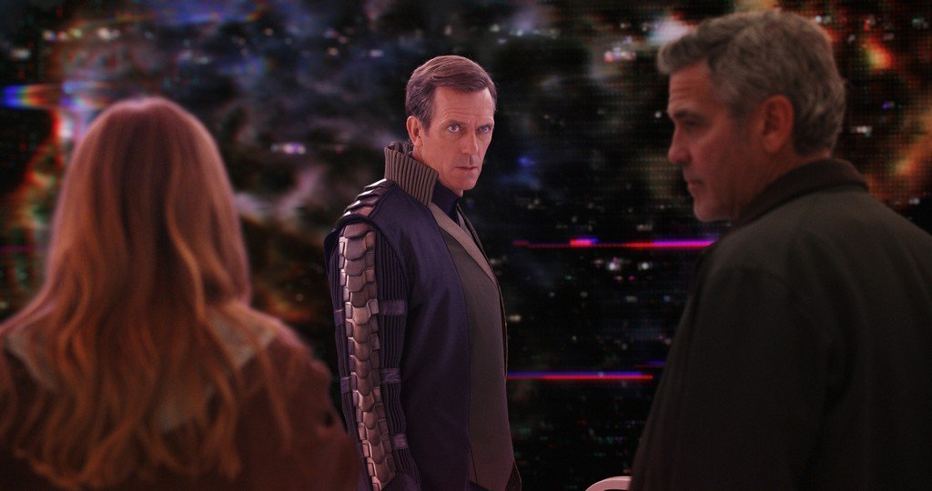 Disney's TOMORROWLAND L to R: Casey (Britt Robertson), David Nix (Hugh Laurie) and Frank Walker (George Clooney) Ph: Film Frame ©Disney 2015