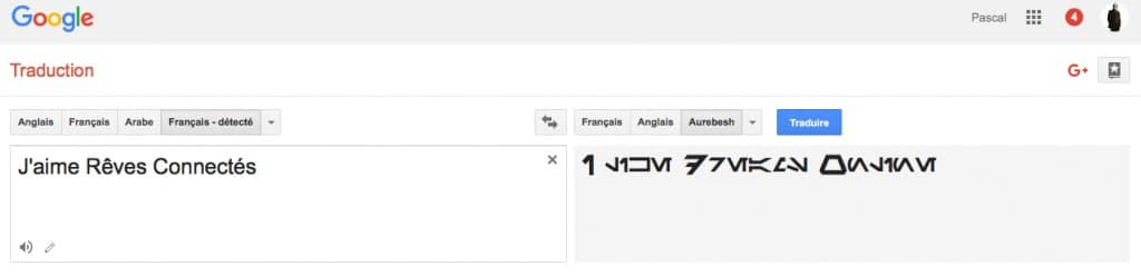 Google Traduction StarWars Aurebesh