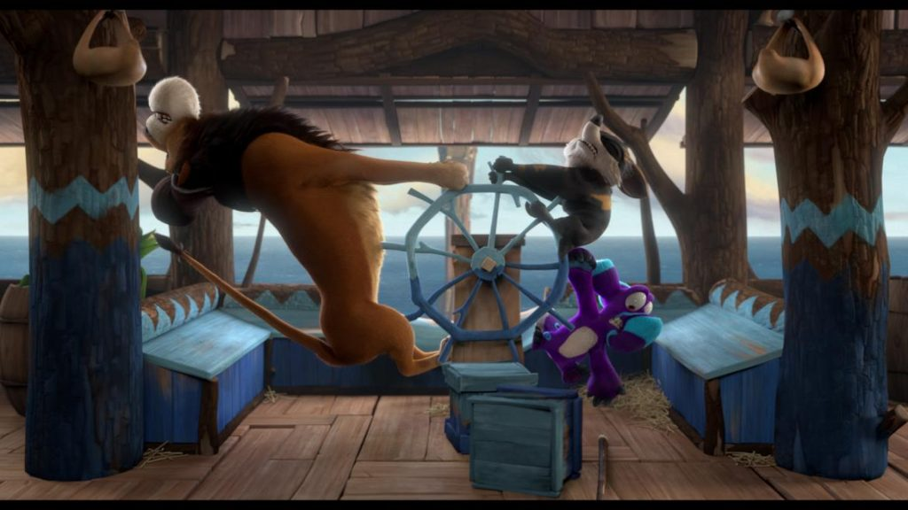 OUPS_Le lion, Hazel et Dave se disputent la barre_Ulysses,Fabriqued'Images,Skyline,MoetionFilms
