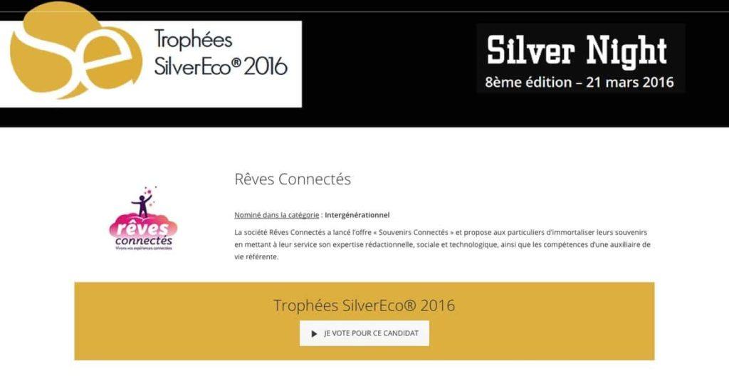 Rêves Connectés nominé aux Trophées de la SilverEco 2016